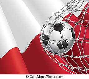Polish flag with a soccer ball - Soccer Goal. Polish flag...