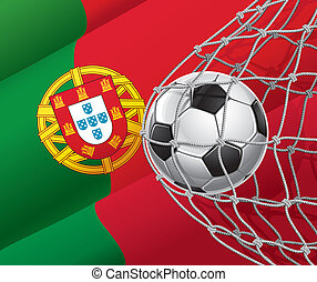 Portuguese flag with a soccer ball