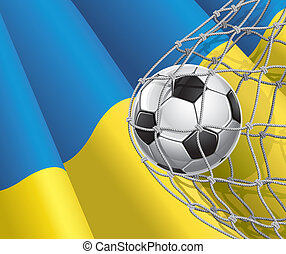 Ukrainian flag with a soccer ball