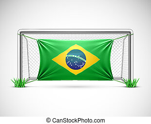 Soccer goal with flag brazil, eps 10