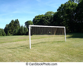 Soccer Goal with net in grassy field