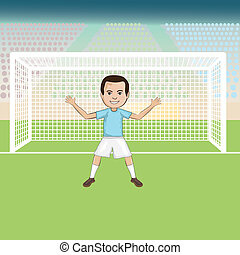 soccer-goalie - illustration of a goal keeper standing in...