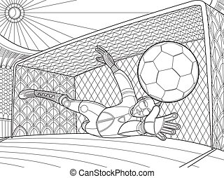 Soccer goalkeeper batted ball hand drawing vector...
