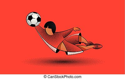 Soccer goalkeeper character catches the ball in a jump. Cartoon football player in red clothes on a red background.