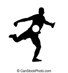 Soccer goalkeeper kicking off ball, vector silhouette