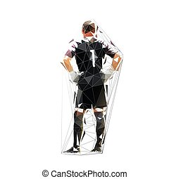 Soccer goalkeeper standing with hands on hips, low polygonal isolated vector illustration
