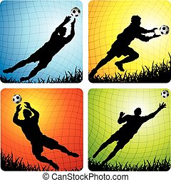 Soccer Goalkeepers - Vector illustrations of soccer...