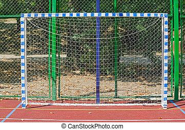 soccer goals on an outdoors mini football field