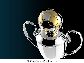 Soccer Golden award trophy on black background.