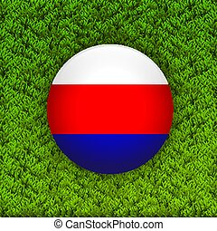 Soccer green grass pattern field with Russia flag