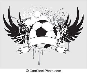 soccer grunge blason - grunge emblem, winged soccer ball and...
