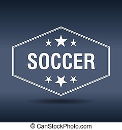 soccer hexagonal white vintage retro style label