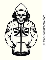 Soccer hooligan skull in hoodie illustration