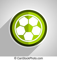 soccer icon, green circle flat design internet button, web and mobile app illustration
