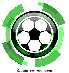 soccer icon, green modern design isolated button, web and mobile app design illustration