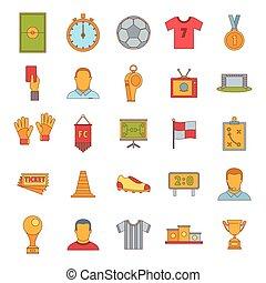 Soccer icon set, cartoon style