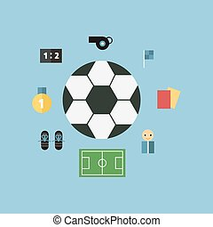 Soccer Icons, flat design, vector