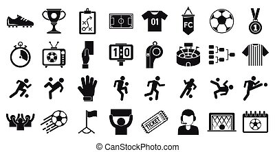 Soccer icons set, simple style