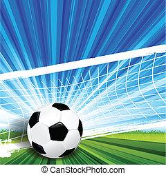Soccer - Illustration, leather soccer ball on green herb