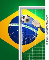 soccer in brazil - goalkeeper in action in brazil trying to...