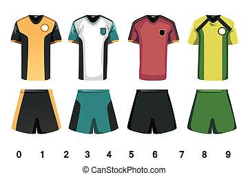 A vector illustration of soccer jersey design
