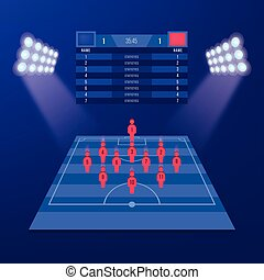 soccer jersey or football kit with match formation tactic infographic. Football player position on football pitch and stadium map. Vector Illustration. Isometric set.