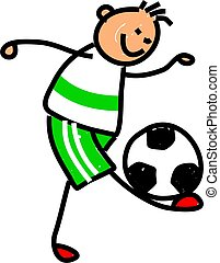 soccer kid - happy little boy balancing a soccer ball on his...