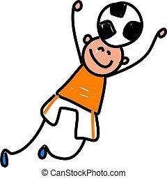 soccer kid - happy little boy reaching to head but a soccer...