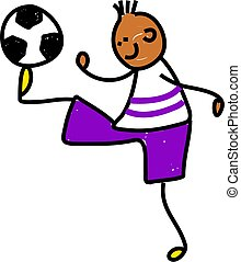 soccer kid - happy little ethnic boy balancing a soccer ball...