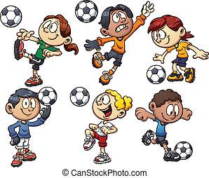 Soccer kids - Cartoon kids playing soccer. Vector clip art ...
