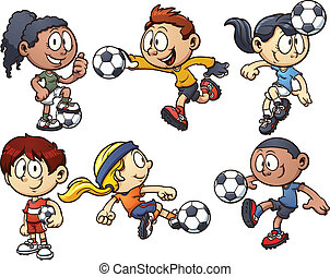Cartoon kids playing soccer. Vector clip art illustration with simple gradients. Each on a separate layer.