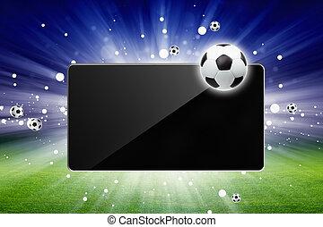 Soccer live - Sports background - soccer ball, tablet...