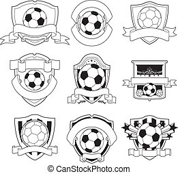 Vector Football Or Soccer Logos Set Collection Of Eight Red
