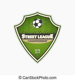 Soccer logo template. Football logotype. Vector emblem sport design.
