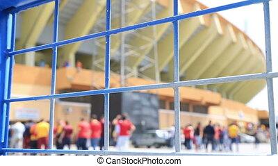 Soccer match entrance queue