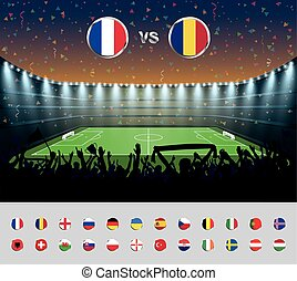 Soccer match France 2016 with excited crowd of people at a soccer stadium. Soccer arena.