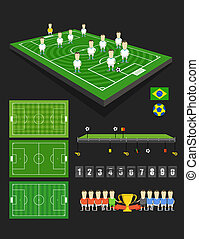 Soccer match infographic elements. Flat design