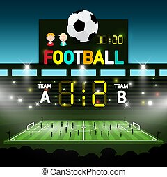 Soccer Match on Footbal Stadium - Vector Chanpionship Template