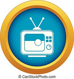 Soccer match on TV icon blue vector isolated