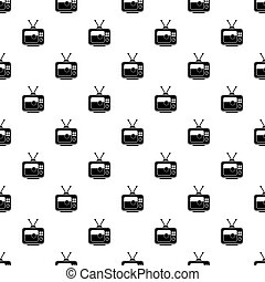 Soccer match on TV pattern vector