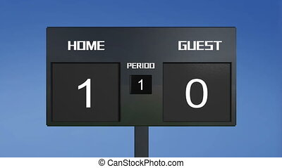 soccer match scoreboard display the goal result