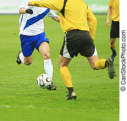 soccer match - details of soccer match with two players in...