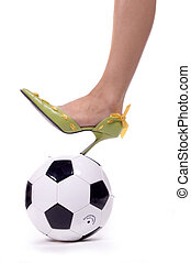 Soccer Mom Spike! - Sexy leg and spiked heel on soccer ball