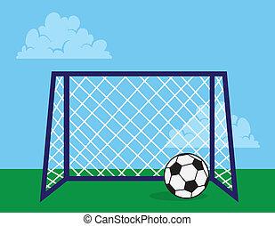 Soccer net outside with soccer ball
