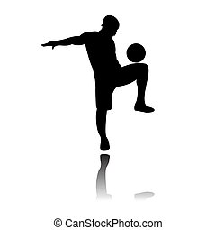 Soccer of futsal player silhouettes in various action poses