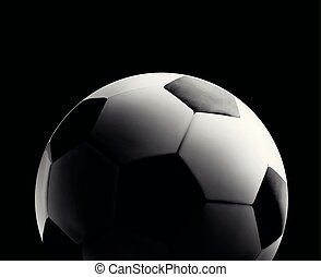 Soccer or football ball in the backlight on black background. Vector close-up illustration