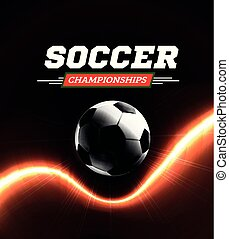 Soccer or football ball in the backlight on black background. Vector illustration