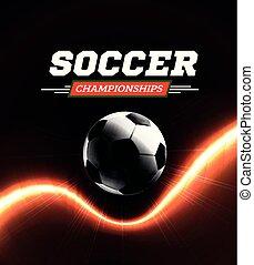 Soccer or football ball in the backlight on black background. Vector illustration