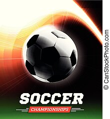 Soccer or football ball in the backlight with a flight path in the form of a light beam. Vector illustration