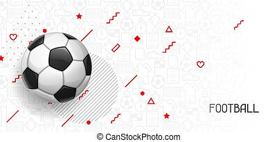Soccer or football banner with ball. Sports illustration